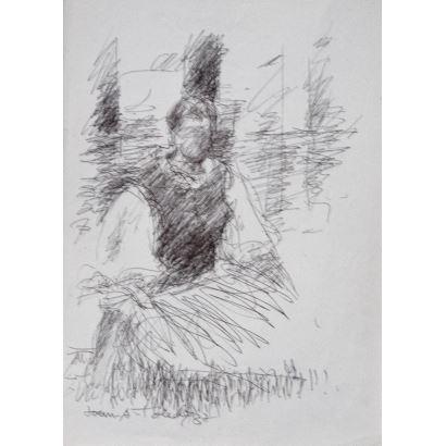 TOLEDO, Juan Antonio (Valencia, 1940-1995). Dibujo a tinta sobre papel. 1987.