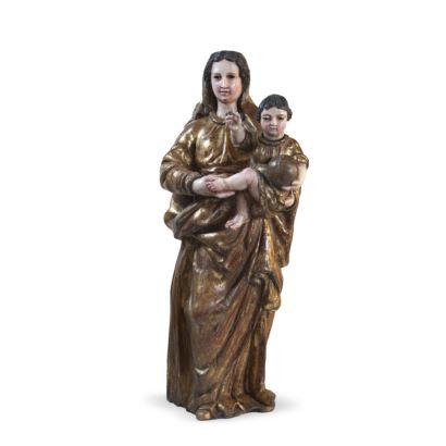 Virgen con el Niño,  escuela Española siglo XVII.