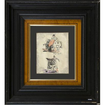 Carlos Ruano Llopis (Orba, 1878-México, 1950). Dibujo a tinta y lapices.