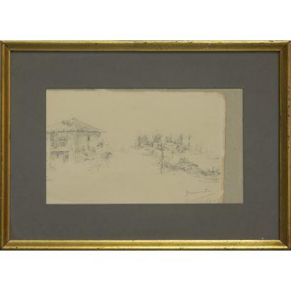 Dibujo a lápiz sobre papel. Escuela española ss.XIX-XX.