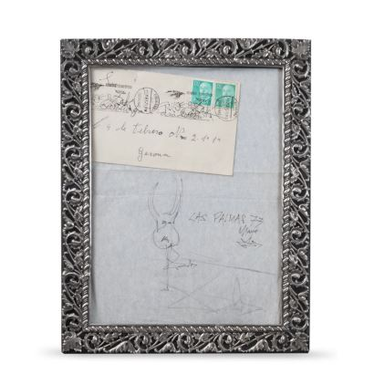 Salvador Dalí (Figueras, 1904-1989). Dibujo pintado a lápiz, fechado en Mayo de 1973, Las Palmas. En marco de plata calada. Medidas: 33 x 27 cm.