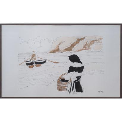 Pedro Sobrado (Cantabria, 1936). Pescadora. Acuarela y tinta sobre papel. Firmado en ángulo inferior derecho. Medidas: 52 x 67 cm.
