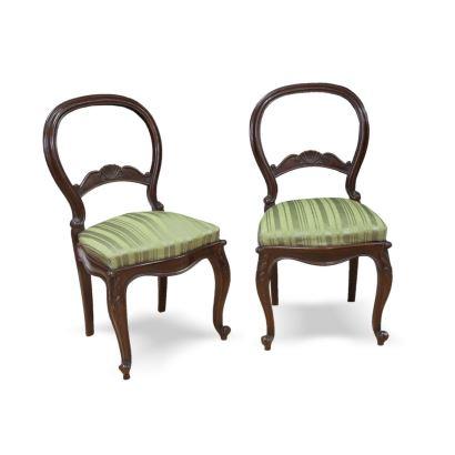 Pareja de sillas isabelinas, S. XX. Realizadas en madera de caoba. Presentan respaldo al aire, patas cabriolé y talla en rodilla. Medidas: 90 x 45 x 37 cm.