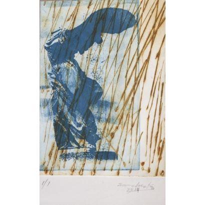 INÉS SÁNCHEZ COZAR (Jaén, 1942). Victoria de Samotracia. Grabado. Firmado y fechado 2014. Medidas: 26 x 16 cm.