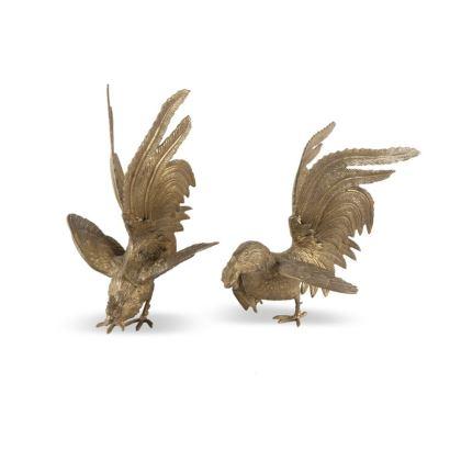 Conjunto formado por pareja de gallos y faisanes, S. XX.