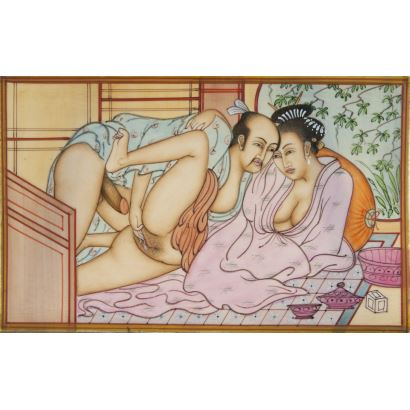 Escuela Japonesa, siglo XX. Escena erótica pintada al óleo sobre placa de marfil. Medidas: 12 x 8 cm.