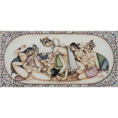 Miniatura india sobre marfil, Rajasthan, siglo XX.