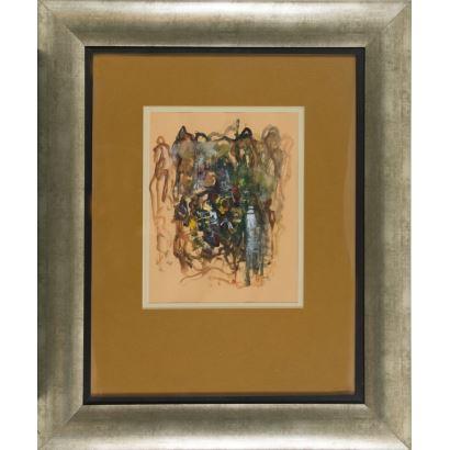 A.GÓMEZ (Santiago de Chile, 1964). Técnica mixta. Composición abstracta. Firmado y fechado en ángulo inferior derecho: A GOMEZ 2004. 92x76cm s/m 41x32cm.