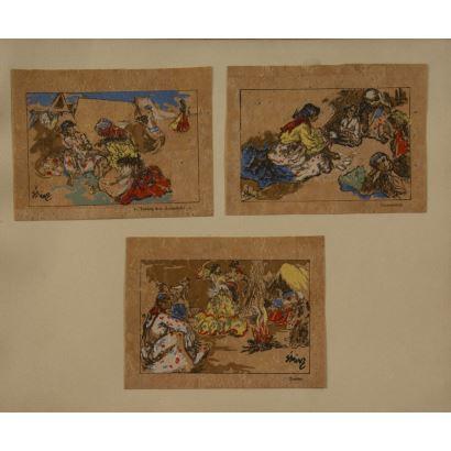 """""""Escenas cotidianas 2"""", Firma ilegible. Se trata de 3 dibujos sobre papel-corcho, que aparecen firmados por el propio autor en el ángulo inferior izquierdo dos de ellos y el otro en el derecho. Medidas: 10 x 13,5 cm."""