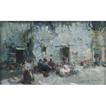 Giner Bueno, Luis (Godella, Valencia, 1935). Vista de calle con personajes. Óleo sobre lienzo. Firmado en margen inferior derecho. Medidas sin marco: 29 x 17 cm. Medidas con marco: 54 x 41 cm.