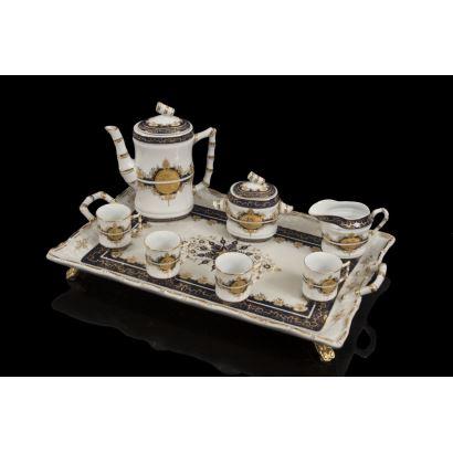 Juego de café en porcelana, siglo XX.