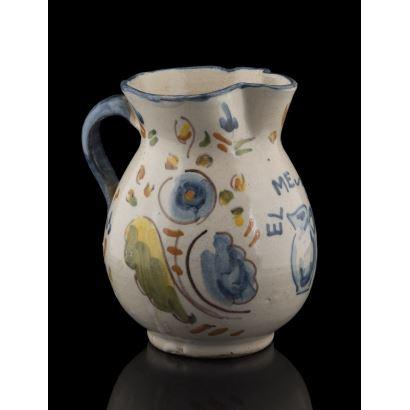 Cerámica. Jarra en cerámica de Manises, hacia 1900.