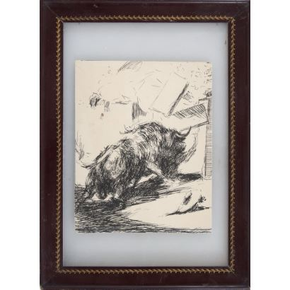 CASERO SANZ, Antonio (Madrid, 1897-1973). Dibujo a tinta sobre papel.
