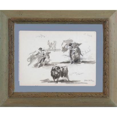CASERO SANZ, Antonio (Madrid, 1897-1973). Gouache sobre papel. Apuntes de escenas taurinas a doble cara. Firmado y certificado en reverso por la hermana del pintor. Medidas: 24,5x33cm c/m 44x53cm.