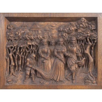 Bajo relieve rectangular tallado en madera.