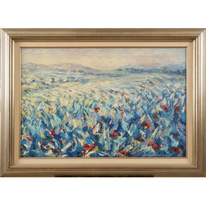 """""""Paisaje 3"""", Dolores Balsalobre. Se trata de un óleo sobre lienzo, que aparece firmado por el propio autor en el ángulo inferior derecho. Está enmarcado. Medidas sin marco: 54 x 81 cm. Medidas con marco: 72 x 99 cm."""
