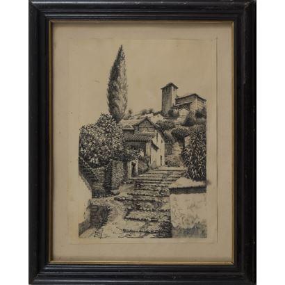 MARIN GARCES, Isidoro (1863-1926). Dibujo a tinta sobre papel.