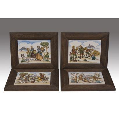 """""""4 estaciones"""", Varios. Se trata de 4 placas de cerámica que definen las estaciones del año (primavera, verano, otoño e invierno). Están firmadas por"""