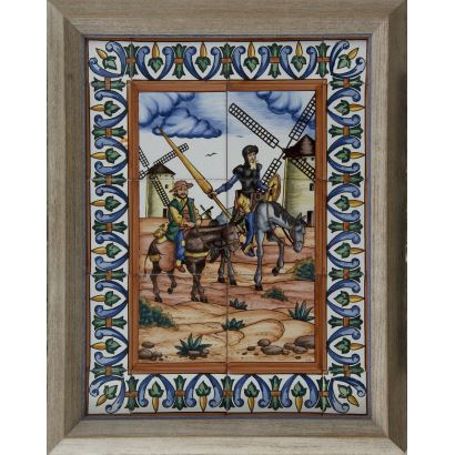 """""""Azulejos Don Quijote y Sancho Panza"""", Varios. Se trata de unos azulejos de cerámica con ornomentación de la figura de Don Quijote y Sancho Panza, aparece firmado"""