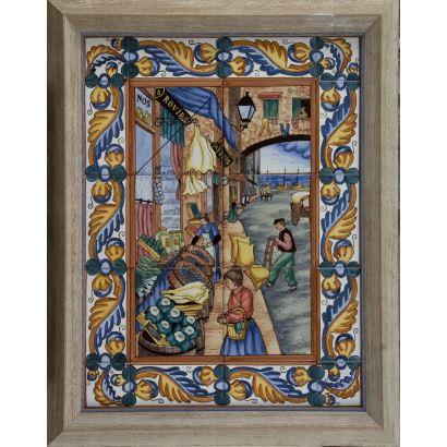 """""""La tienda Rovira"""", Varios. Se trata de unos azulejos de cerámica con ornomentación de un día cotidiano en las calles de la ciudad, aparece firmado"""