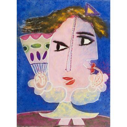 GARCÍA RIPOLLÉS, Joan (Alzira, Valencia, 1932). Óleo sobre lienzo.