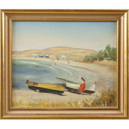 ARACIL GALLEGO, Melchor (Alicante, 1906-1966). Óleo sobre lienzo.