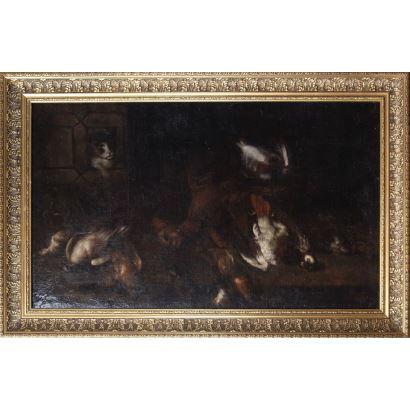 Pintura de Alta Época. Escuela española, siglo XVII. Bodegón con gato. Óleo sobre lienzo. Medidas C/M: 141 x 91 cm; S/M: 123 x 73 cm.