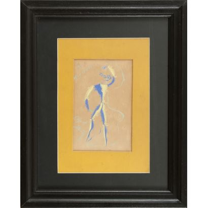 """""""Bailarín"""", Rafael Alberti. Se trata de un gouache sobre papel, que aparece firmado por el propio autor en el ángulo inferior izquierdo. Está enmarcado. Medidas sin marco: 21 x 14 cm. Medidas con marco: 49 x 39,5 cm."""