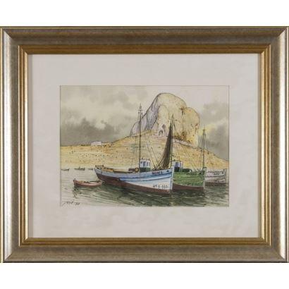 Pintura del siglo XX. Barco pesquero con Peñón al fondo