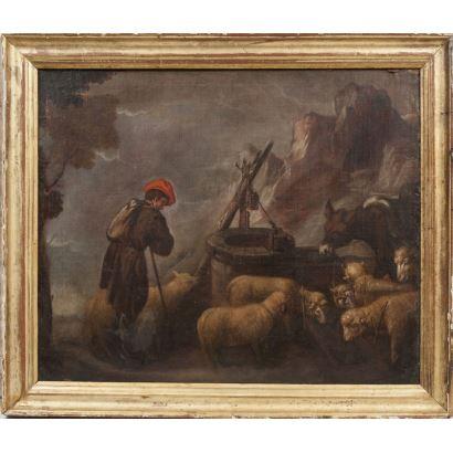 Atribuido a Pedro de Orrente (Murcia, 1580 - 1645). Pareja de óleos sobre lienzo.