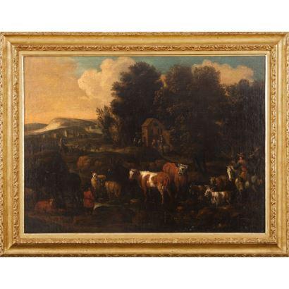 ROOS, PHILIPP PETER (Fráncfort del Meno, Alemania 1657- Roma 1706). Pareja de paisajes con animales. Óleo sobre lienzo. Enmarcados Medidas: 103x133cm.