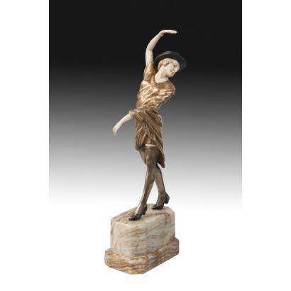 Criselefantina en bronce y marfil, años 50.