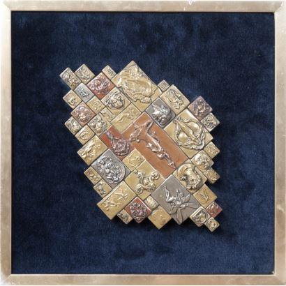 Giovanni Schoeman (Sudáfrica, 1940-1981). Relieve realizado con su técnica curación en frio. Plata, bronce y cobre. Etiqueta al dorso firmada por el artista. Medidas C/M: 35 x 35 cm. S/M: 27 x 20 cm.