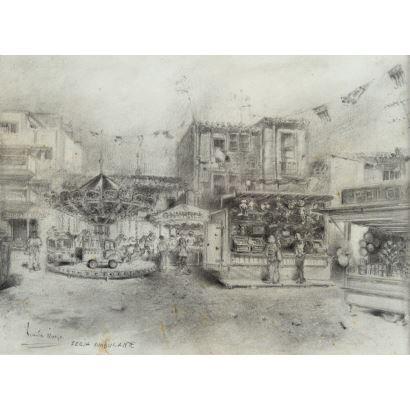 Vicente Alonso (Alboraya, Valencia, 1955). Feria Ambulante. Dibujo a carboncillo. Firmado y titulado en margen inferior izquierdo. Medidas con marco: 43 x 37 cm. Medidas sin marco: 26 x 19 cm.