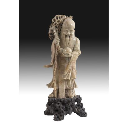 Shou-sing tallado en esteatita, Época Guangxu (1875-1908).