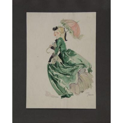 """""""Dama"""", Juana Francisca Rubio. Se trata de una acuarela sobre cartulina, que aparece firmada por le propio autor en el ángulo inferior derecho. Medidas: 24,5 x 18 cm."""