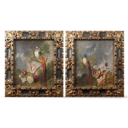 Pareja de óleos sobre lienzo con motivos de aves sobre rama en flor. Siglo XIX. Firmado  M. Bracho. Escuela Sevillana. Medidas C/M: 67 x 60 cm. S/M: 49 x 42 cm.