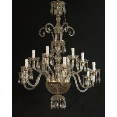 Lámpara de techo realizada en vidrio incoloro  moldeado y doblado, con múltiples brazos. Medidas: 110x80x80cm.