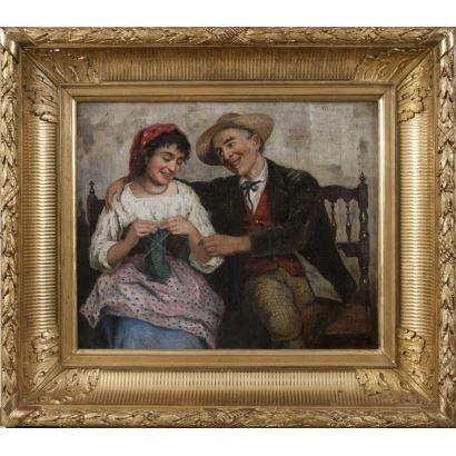 Pintura del siglo XIX. AGRASOT, Joaquín (Orihuela, 1836- Valencia, 1919) . Óleo sobre lienzo.
