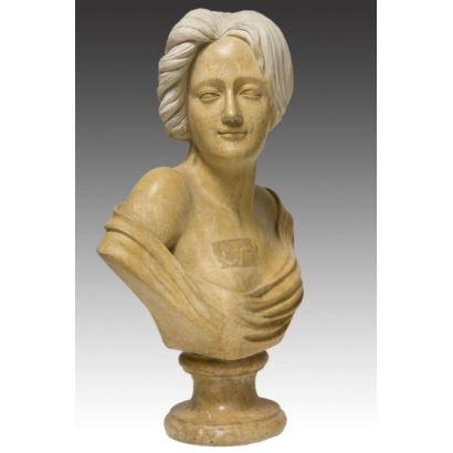 Busto tallado en mármol de estilo modernista. s.XX.