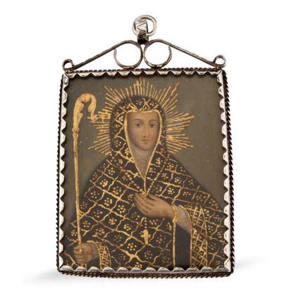 Relicario, S. XVIII. Decorado en ambas caras: Virgen y Virgen de los siete puñales Realizado al óleo. Montura de plata. Medidas: 8,5x5,5cm.