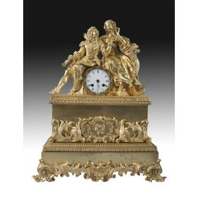 Reloj de sobremesa estilo Luis XVI, Francia, siglo XIX.