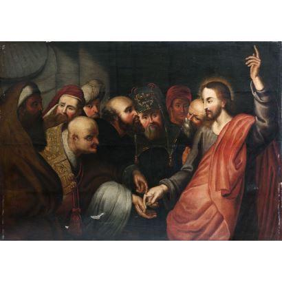 Óleo sobre tabla. Escuela Flamenca s. XVII. Siguiendo modelos de Pedro Pablo Rubens.