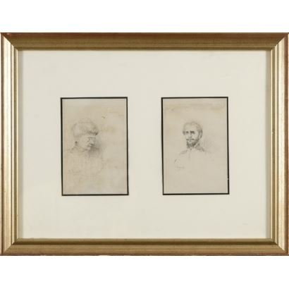 JOAQUÍN AGRASOT Y JUAN. Retrato de dama y caballero. Dibujos a lápiz, firmados. 14'5X9cm