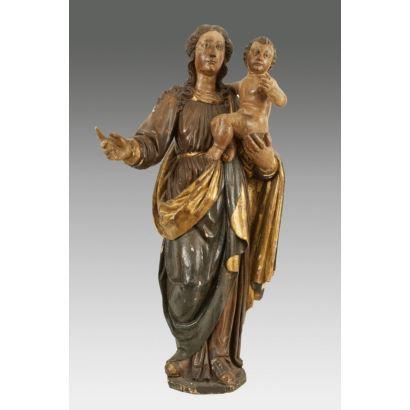Escultura en madera tallada y policromada. Escuela Española s.XVII.