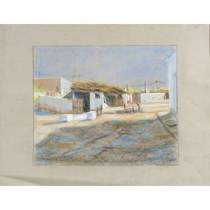 LUJÁN, Santiago (Madrid, 1945).  Pastel y carboncillo sobre papel.