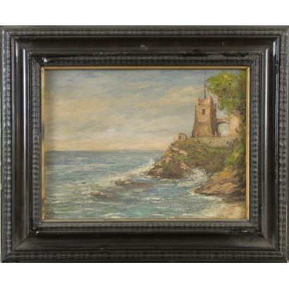 Óleo sobre lienzo, paisaje de pincelada suelta y empastada donde observamos un bastión sobre el mar tranquilo. Firmado en ángulo inferior derecho P.Villa. 56x45cm/38x29cm sin marco.