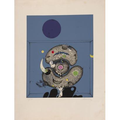 MARUNA, Pedro. 1976. Serigrafía firmada y numerada a lápiz 183/250. Composición. 50x65cm.