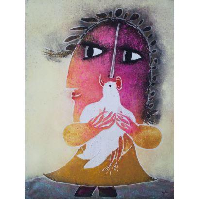 Pintura del siglo XX. GARCÍA RIPOLLÉS, Joan (Alzira, Valencia, 1932). Técnica mixta sobre lienzo.