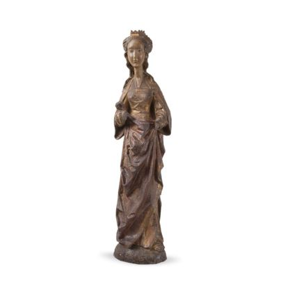 Esculturas. SANTA BÁRBARA, ESCUELA FLAMENCA SIGLOS XIV-XV.